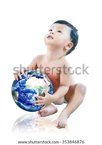 baby holding the earth in his hands. Isolated on white background Elements of this image furnished by NASA - stock photo