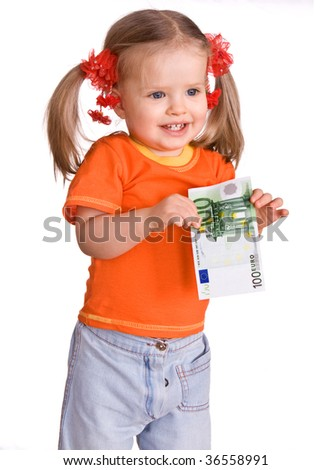 Baby in orange t-shirt with money euro. Isolated. - stock photo