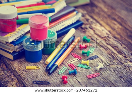 """""""Back to school"""" concept on grunge background - stock photo"""