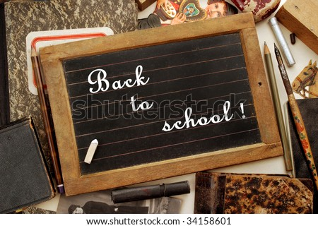 """""""Back to school!"""" in vintage style - stock photo"""