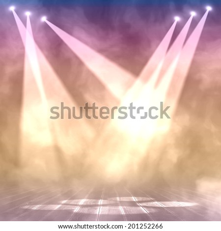 Background in show. Interior shined with a projector. Lights. - stock photo