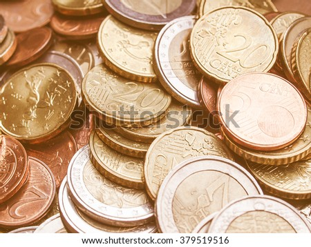 Background of Euro coins money (European currency) vintage - stock photo