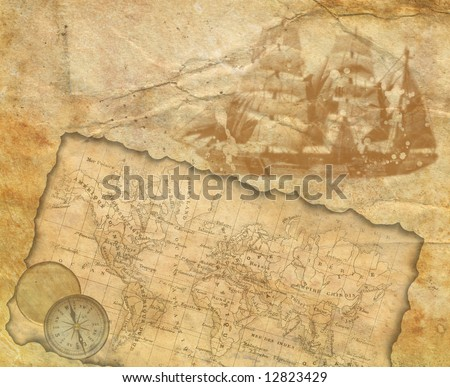 Background - old paper with decorative elements - stock photo