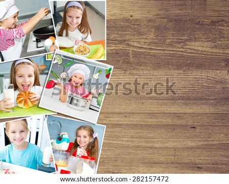 background on a wooden board photo of a pretty girl eat breakfast varied food - stock photo