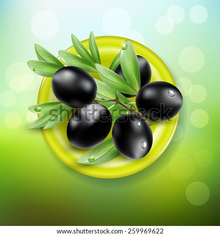 background with black olives on a green plate - stock photo