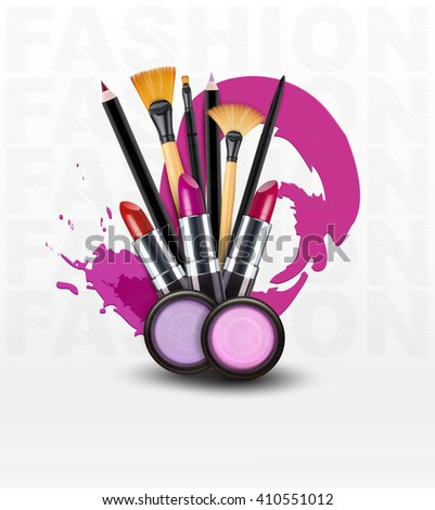 background with cosmetics and make-up objects. (Flyer template)(JPEG Version) - stock photo