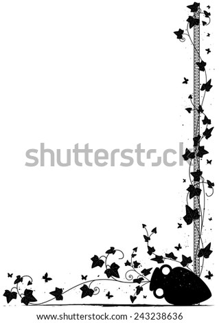 background with ivy, butterflies  and amphora for corner design - stock photo