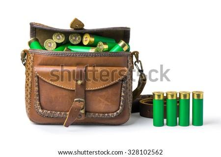 bag with ammunition on white background - stock photo