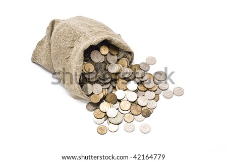 Bag with coins - stock photo