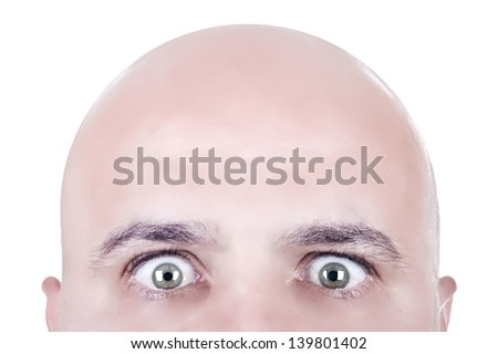 bald head looking face isolated