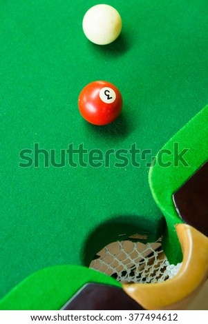 3 Ball from pool or billiards on a billiard table - stock photo