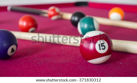 15 Ball from pool or billiards on a billiard table. Selective Focus.Billiard balls on the table. - stock photo