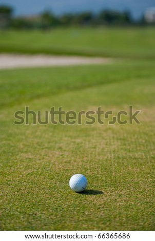 Ball on a golf course