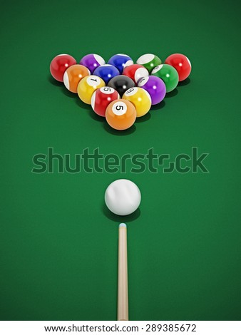 8 ball pool table with balls and cue.
