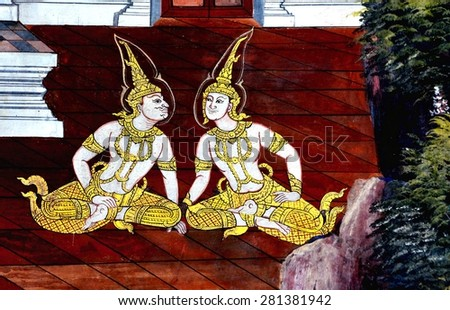 Bangkok - Thailand - 23 May 2015- A scene from The Ramayana in Wat Phra kaew.