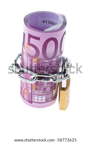 500 banknote completed with a chain - stock photo