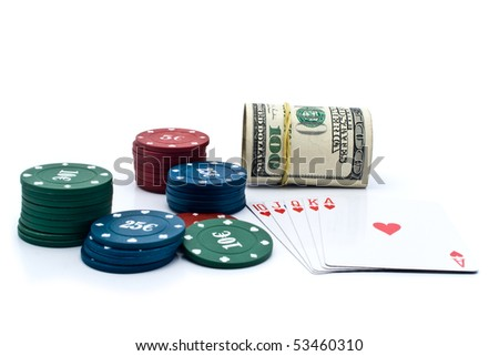 100$ banknoty,chips of poker and playing cards on a white background for your illustrations