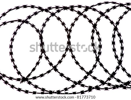 barbed wire silhouette - stock photo