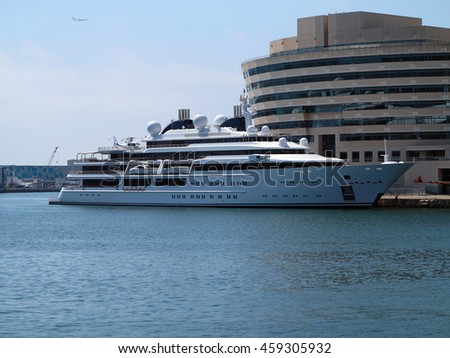 11.07.2016, Barcelona, Spain: Luxury large super yacht in the port - stock photo