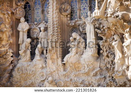 BARCELONA,SPAIN-SEPTEMBER 9 - Sagrada Familia (Basilica and Expiatory Church of the Holy Family) on September 9,2014 in Barcelona - stock photo