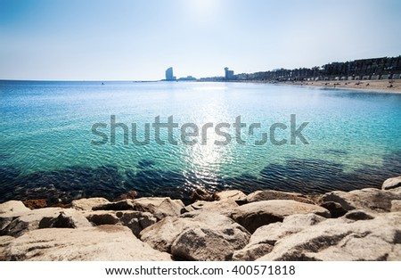 Barceloneta Beach In Barcelona Paradise Tropical Wallpaper Sea View