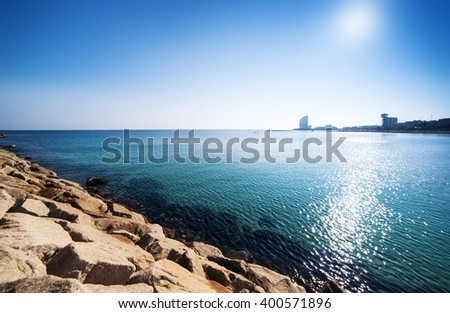 Barceloneta Beach in Barcelona / Paradise tropical wallpaper / sea view - stock photo