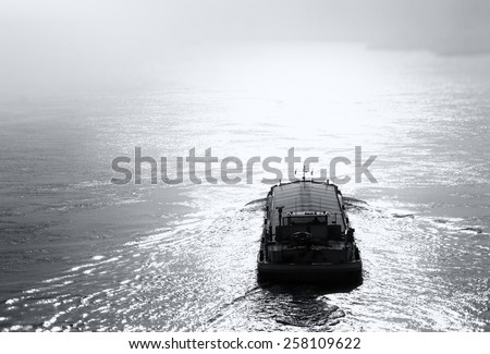 Barge on the Danube River - stock photo