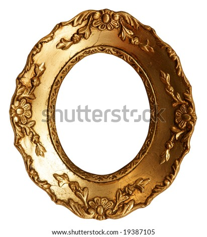 Baroque Small Gold Mirror / Picture Frame with Ornaments to put your owns pictures on it. File contains clipping path. - stock photo