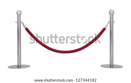Barrier rope isolated on white. - stock photo