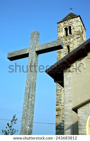 barzola old abstract in  italy   the   wall  and church tower bell sunny day
