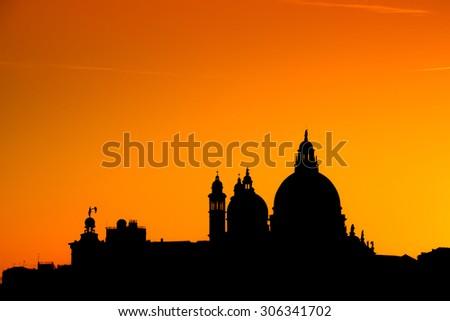 Basilica Santa Maria della Salute, Venice, Italy and sunny day - stock photo
