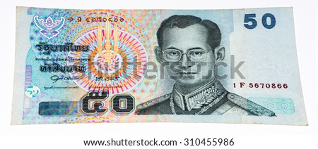 50 bath bank note. Bath is the national currency of Thailand