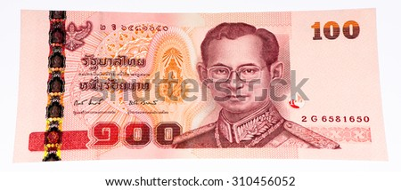 100 bath bank note. Bath is the national currency of Thailand