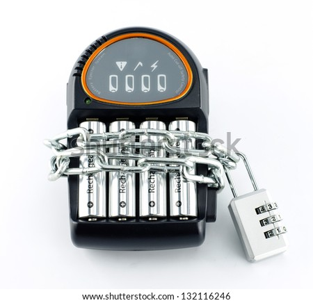 Battery Charger with lock and chain on white background - stock photo