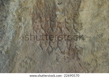 10 000 BC petrographs in Gobustan,Azerbaijan - stock photo