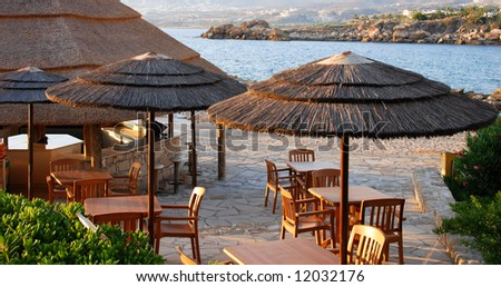 Beach  hotel pavilion from a holiday resort at Paphos area in Cyprus - stock photo