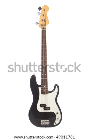Beautiful black and white precision bass guitar isolated on white background - stock photo