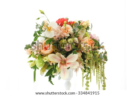 Beautiful bouquet flowers pinks interior white stock photo royalty beautiful bouquet of flowers pinks interior white wedding tent mightylinksfo