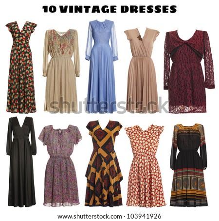 10 beautiful Dresses isolated - Vintage look - stock photo