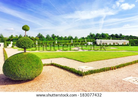Beautiful garden  Versailles,  Palace Versailles was a Royal Chateau-most beautiful palace in France and word - stock photo
