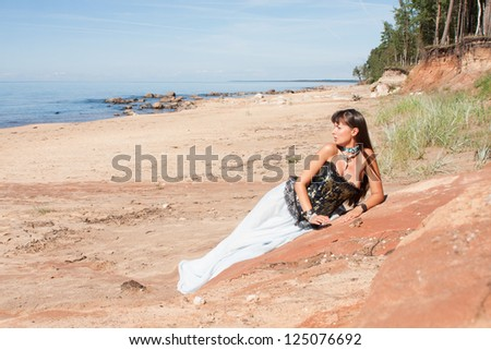 beautiful girl in the image of a mermaid - stock photo