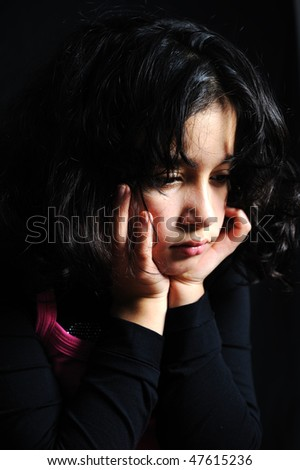 beautiful girl with depression isolated - stock photo