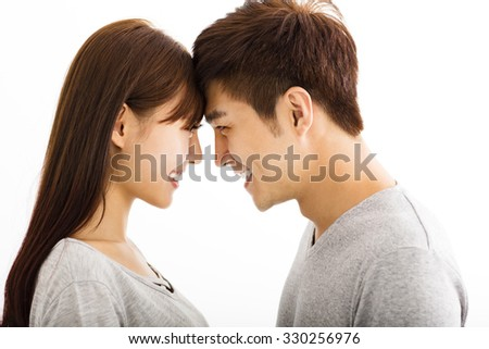 beautiful happy young asian couple - stock photo
