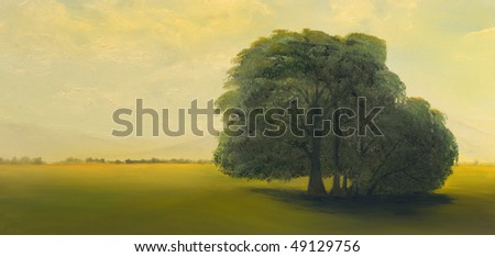 Beautiful Image of a Lone tree In Oil On Canvas - stock photo