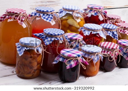 Beautiful jars of preserves. Glass jars with canned food. - stock photo