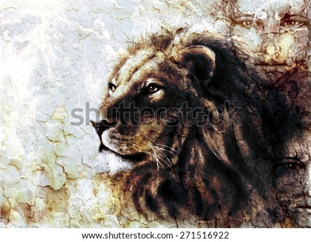 beautiful  painting of a lion head and mystic faces with a majesticaly peaceful expression desert pattern