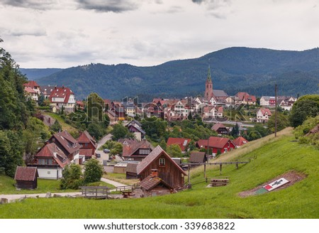 Beautiful panoramic view of the mountain village Bermersbach.