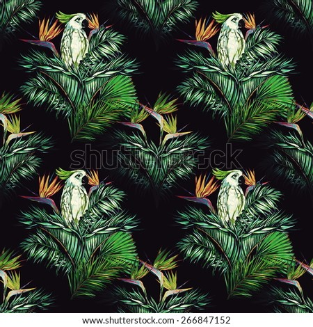 Beautiful seamless vintage floral jungle pattern background. Parrots, watercolor tropical flowers, palm leaves and plants, bird of paradise flower, exotic print - stock photo