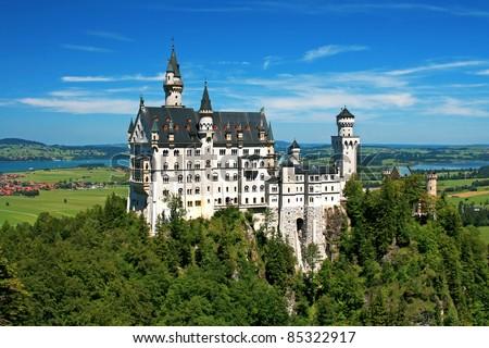 Beautiful summer view of the Neuschwanstein castle (Bavaria, Germany). - stock photo