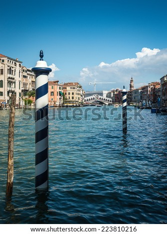 Beautiful view of famous Grand Canal with Rialto bridge in background. Venice, Italy